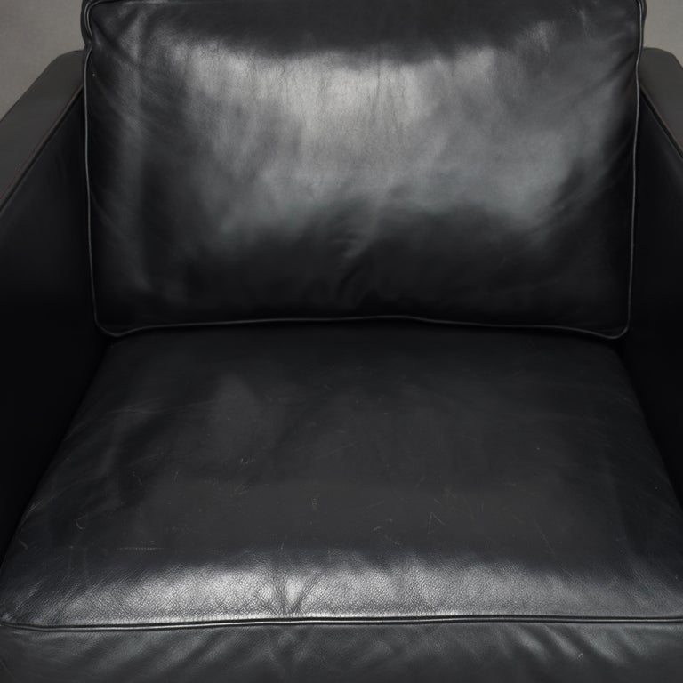 De Sede DS-118 Black Leather Lounge Armchairs, Switzerland For Sale 1