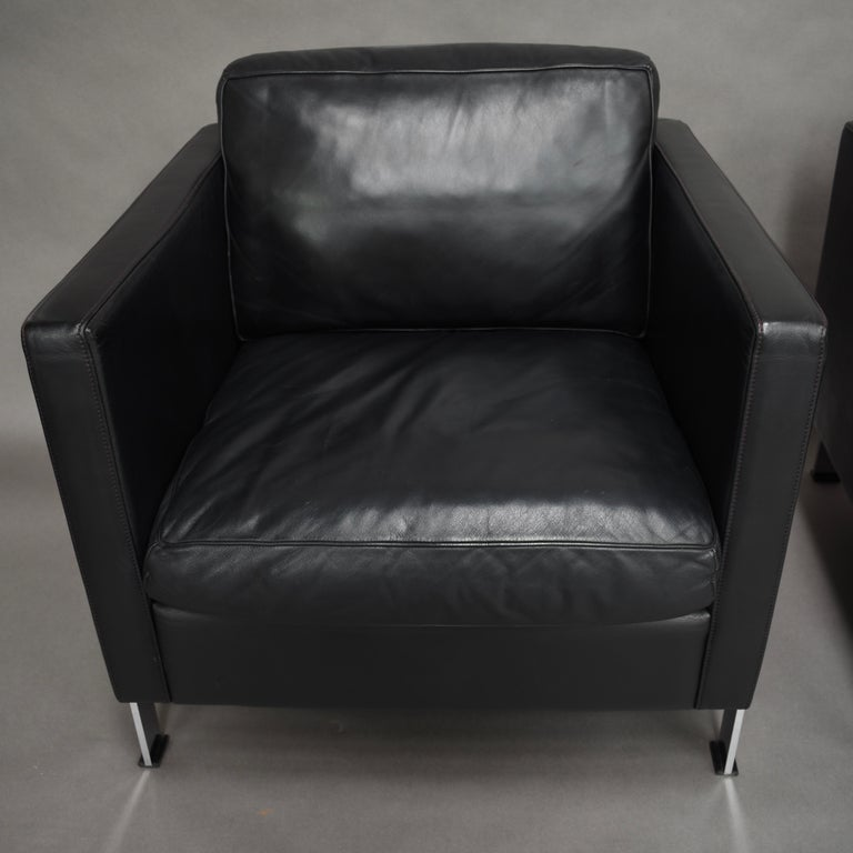 De Sede DS-118 Black Leather Lounge Armchairs, Switzerland For Sale 2