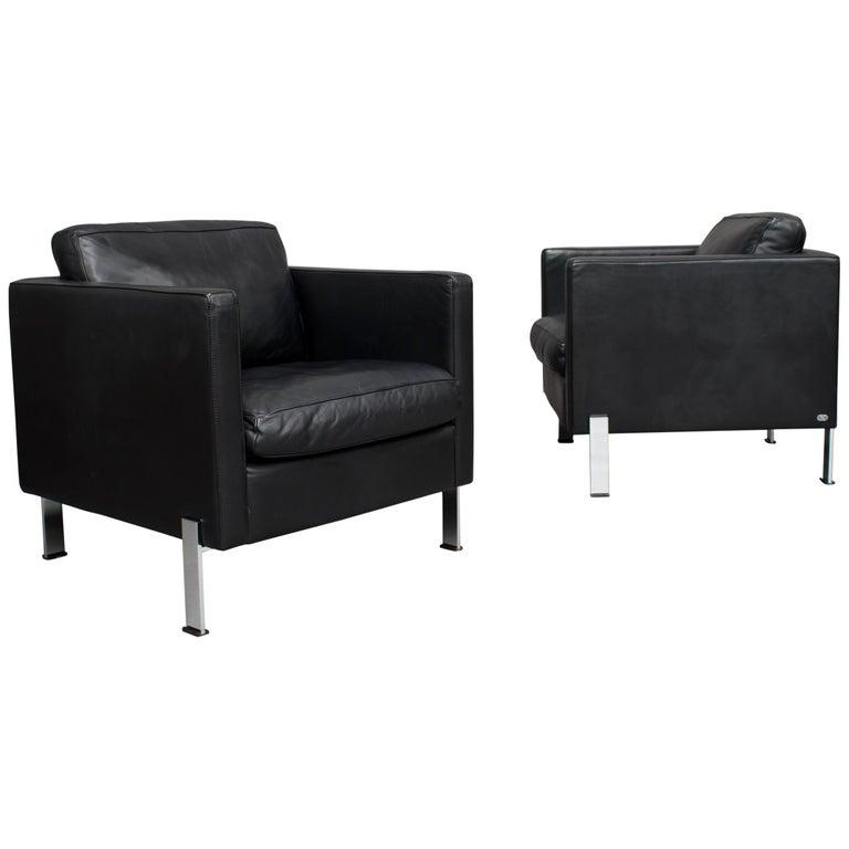 De Sede DS-118 Black Leather Lounge Armchairs, Switzerland For Sale