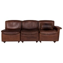 De Sede DS 12 Leather Sofa Brown Three-Seat Couch