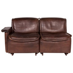 De Sede DS 12 Leather Sofa Brown Two-Seat Couch