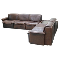 De Sede DS 12 Modular Vintage Neck Leather Sofa Brown and Coffee Table