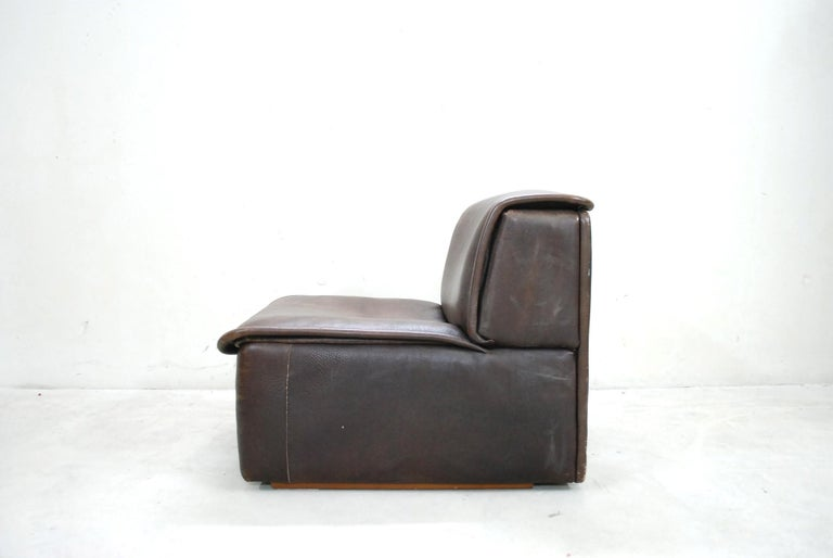 De Sede DS 12 Module Vintage Neck Leather Sofa Brown and Coffeetable 16
