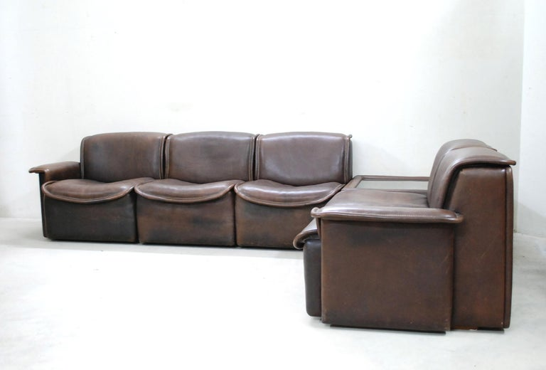 De Sede DS 12 Module Vintage Neck Leather Sofa Brown and Coffeetable 2