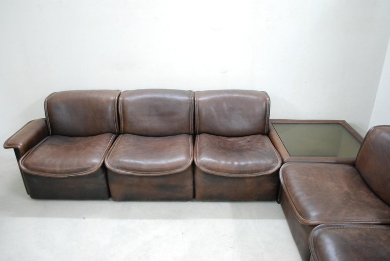 De Sede DS 12 Module Vintage Neck Leather Sofa Brown and Coffeetable 3