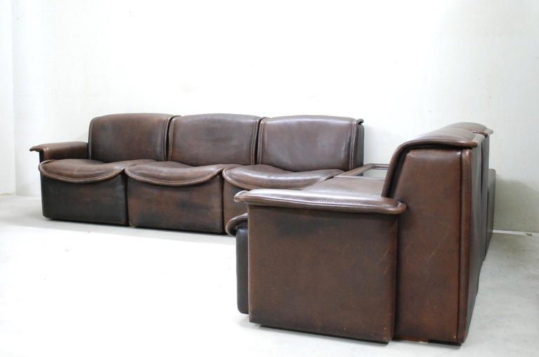De Sede DS 12 Module Vintage Neck Leather Sofa Brown and Coffeetable 4