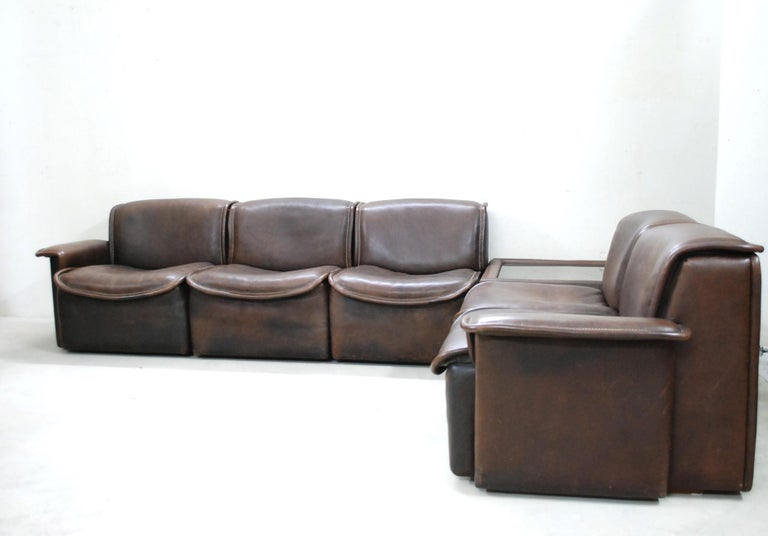 De Sede DS 12 Module Vintage Neck Leather Sofa Brown and Coffeetable 5