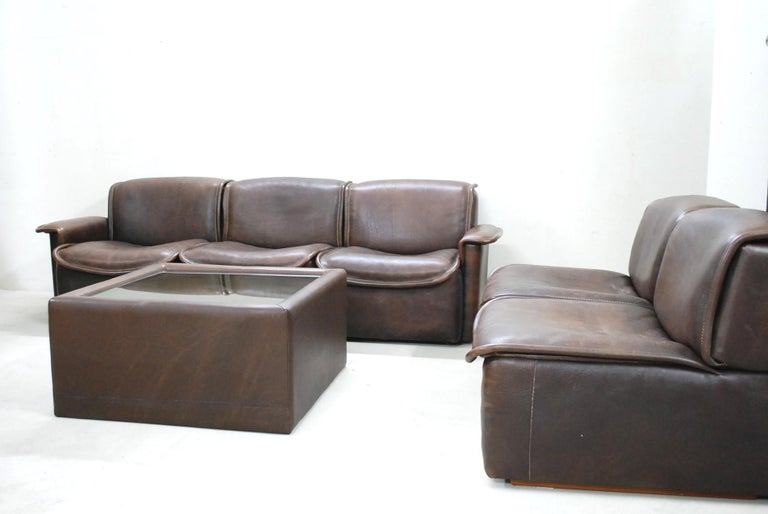 De Sede DS 12 Module Vintage Neck Leather Sofa Brown and Coffeetable 6