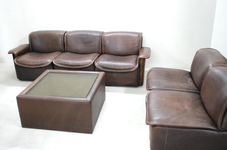 De Sede DS 12 Module Vintage Neck Leather Sofa Brown and Coffeetable 7