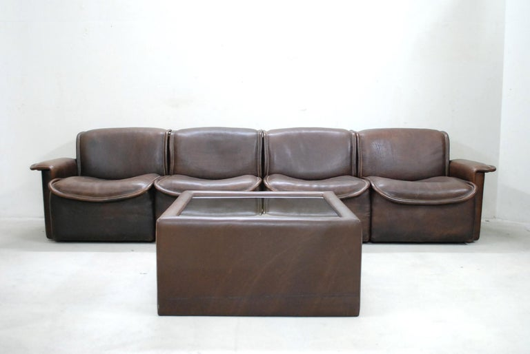 De Sede DS 12 Module Vintage Neck Leather Sofa Brown and Coffeetable 8