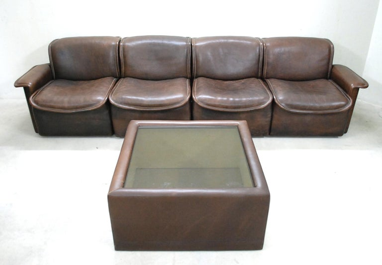 De Sede DS 12 Module Vintage Neck Leather Sofa Brown and Coffeetable 9