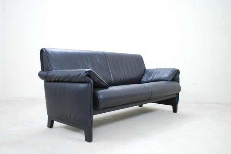 De Sede DS 14 Black Leather Sofa For Sale 2