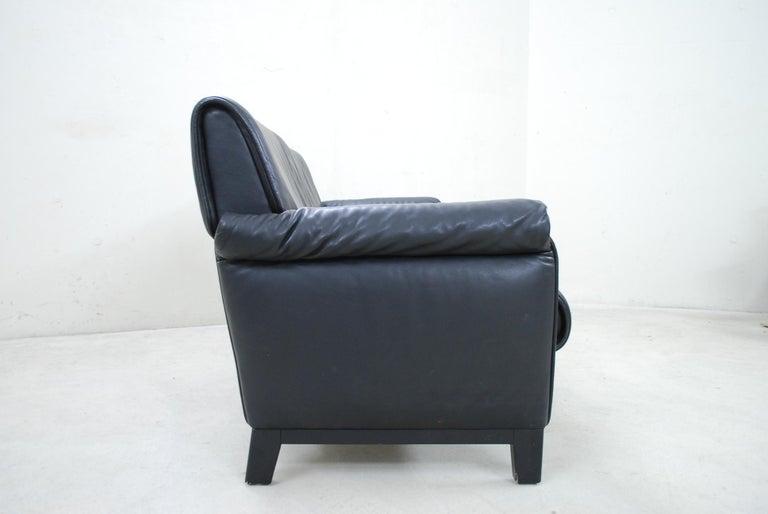 De Sede DS 14 Black Leather Sofa For Sale 3