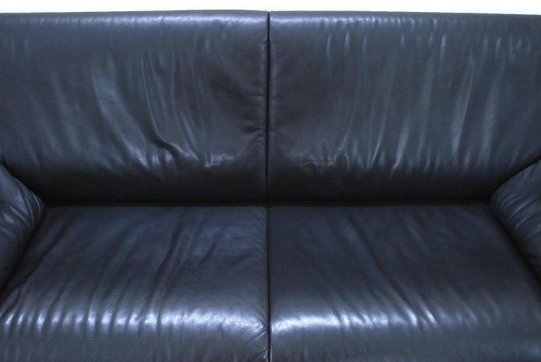 Modern De Sede DS 14 Black Leather Sofa For Sale