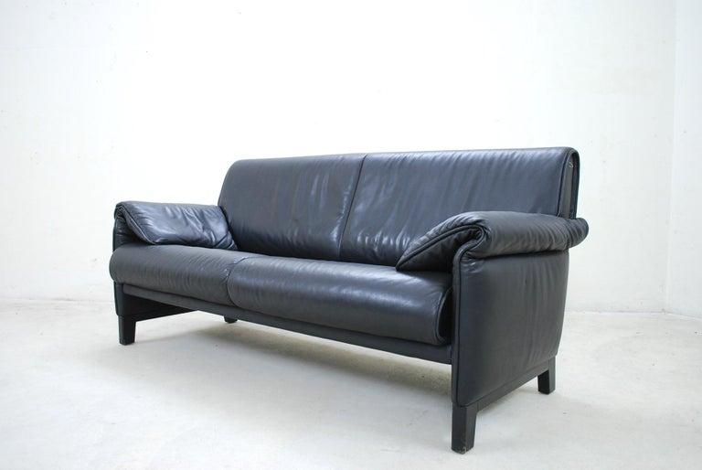Swiss De Sede DS 14 Black Leather Sofa For Sale