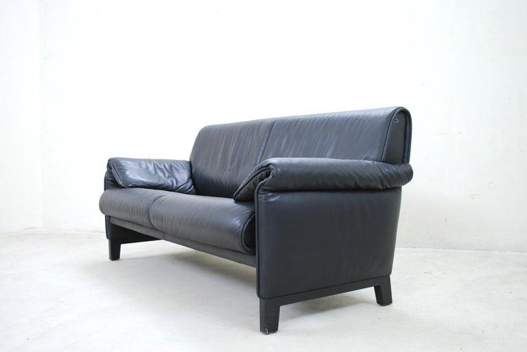Blackened De Sede DS 14 Black Leather Sofa For Sale