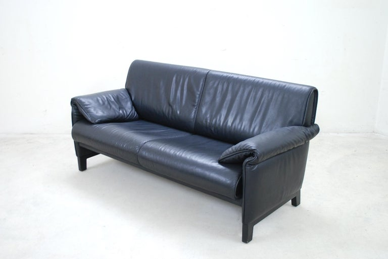 De Sede DS 14 Black Leather Sofa In Good Condition For Sale In Munich, Bavaria