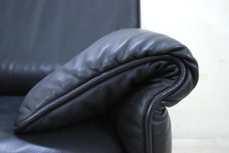 Wood De Sede DS 14 Black Leather Sofa For Sale