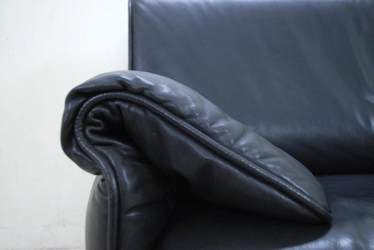 De Sede DS 14 Black Leather Sofa For Sale 1
