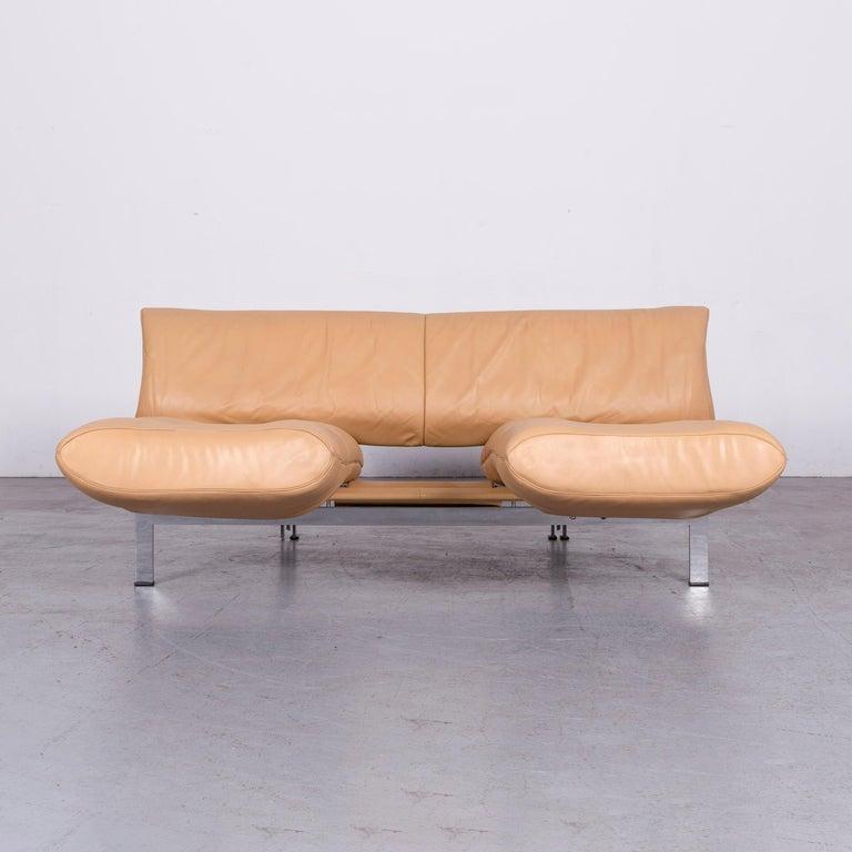 Contemporary De Sede Ds 140 Designer Leather Sofa Beige Three-Seat Function Modern