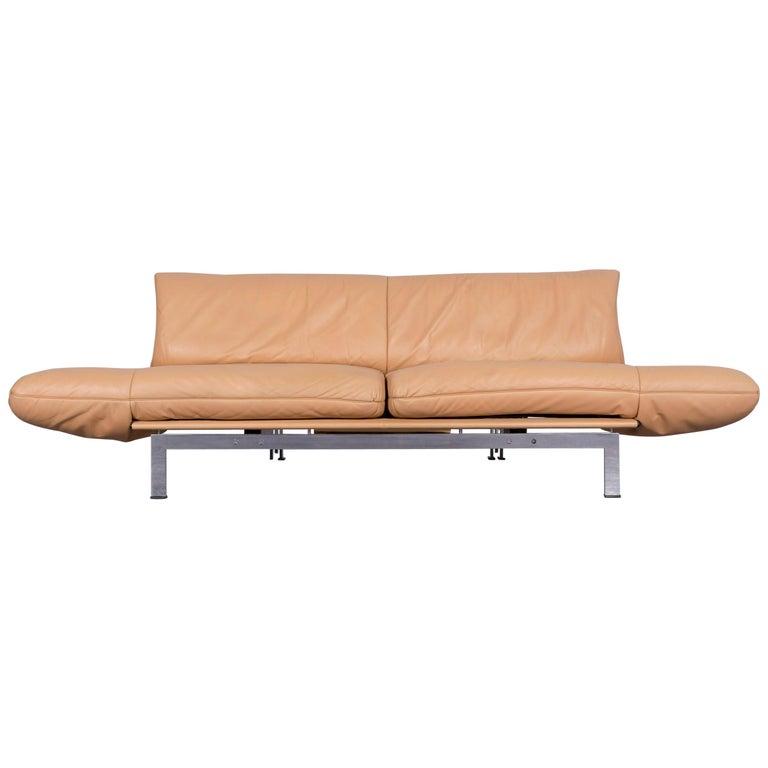 De Sede Ds 140 Designer Leather Sofa Beige Three-Seat Function Modern