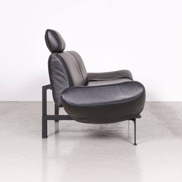 De Sede DS 140 Designer Leather Sofa Black Three-Seat Function Modern 6