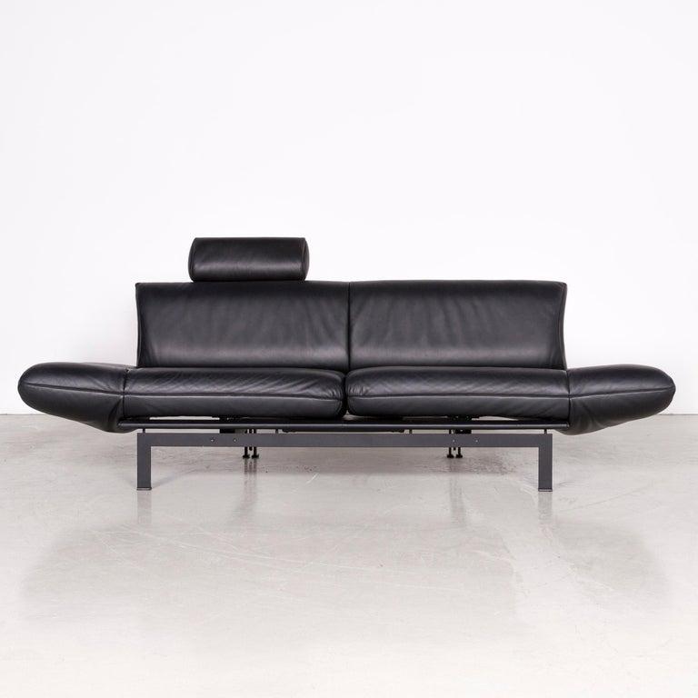 De Sede DS 140 Designer Leather Sofa Black Three-Seat Function Modern In Good Condition In Cologne, DE