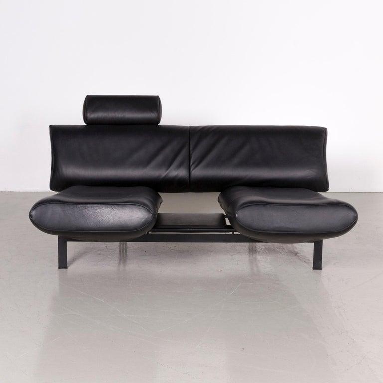 Contemporary De Sede DS 140 Designer Leather Sofa Black Three-Seat Function Modern