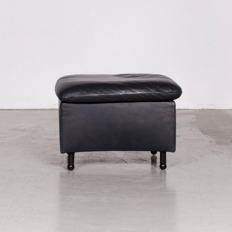 Contemporary De Sede DS 140 Designer Leather Sofa Black Three-Seat Function Modern