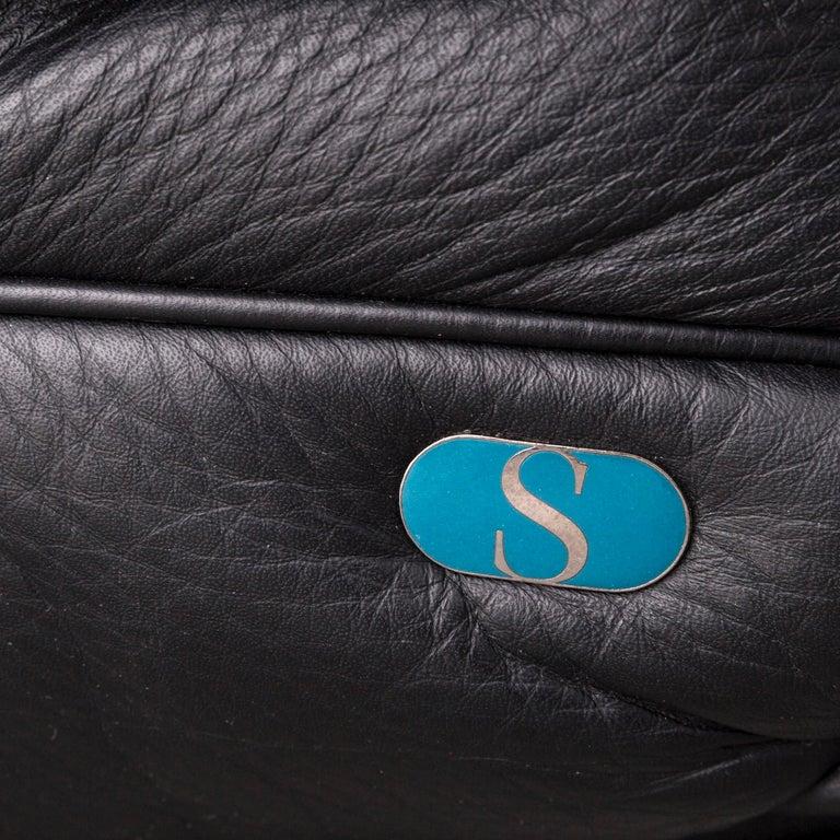 De Sede DS 140 Designer Leather Sofa Black Three-Seat Function Modern 3