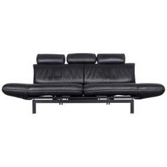 De Sede Ds 140 Designer Leather Sofa Black Three-Seat Function Modern