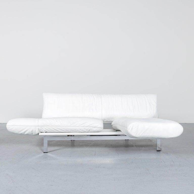 Contemporary De Sede Ds 140 Designer Leather Sofa White Three-Seat Function Modern