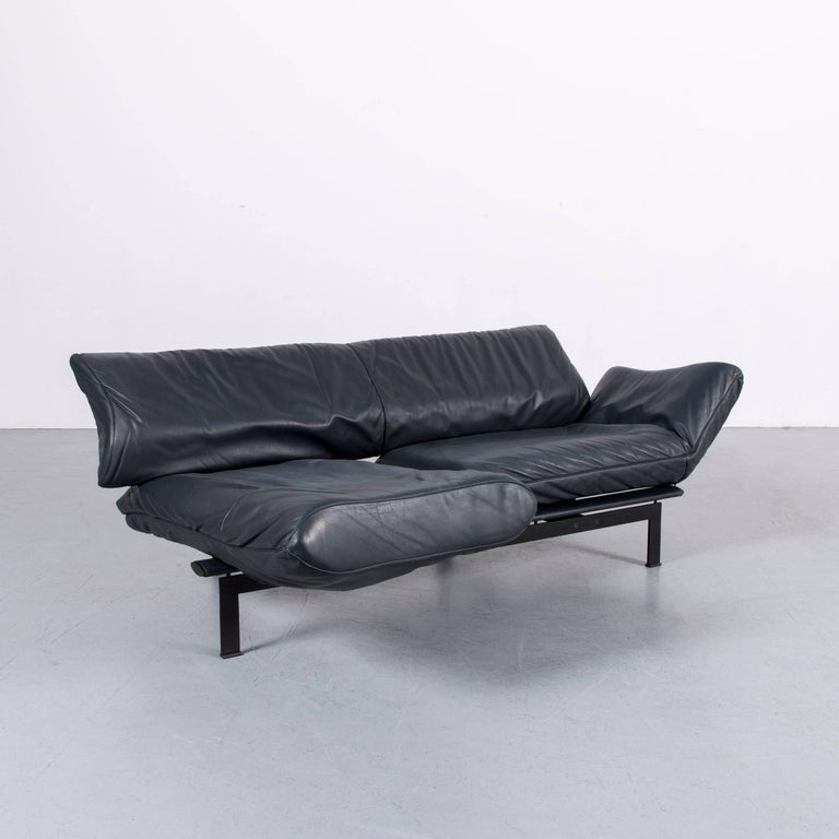 De Sede Ds 140 Designer Sofa Grey Blue Leather Three-Seat Couch For Sale 5