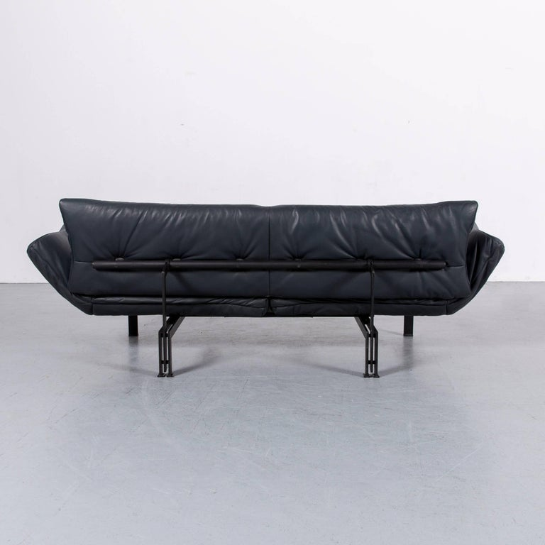 De Sede Ds 140 Designer Sofa Grey Blue Leather Three-Seat Couch For Sale 9