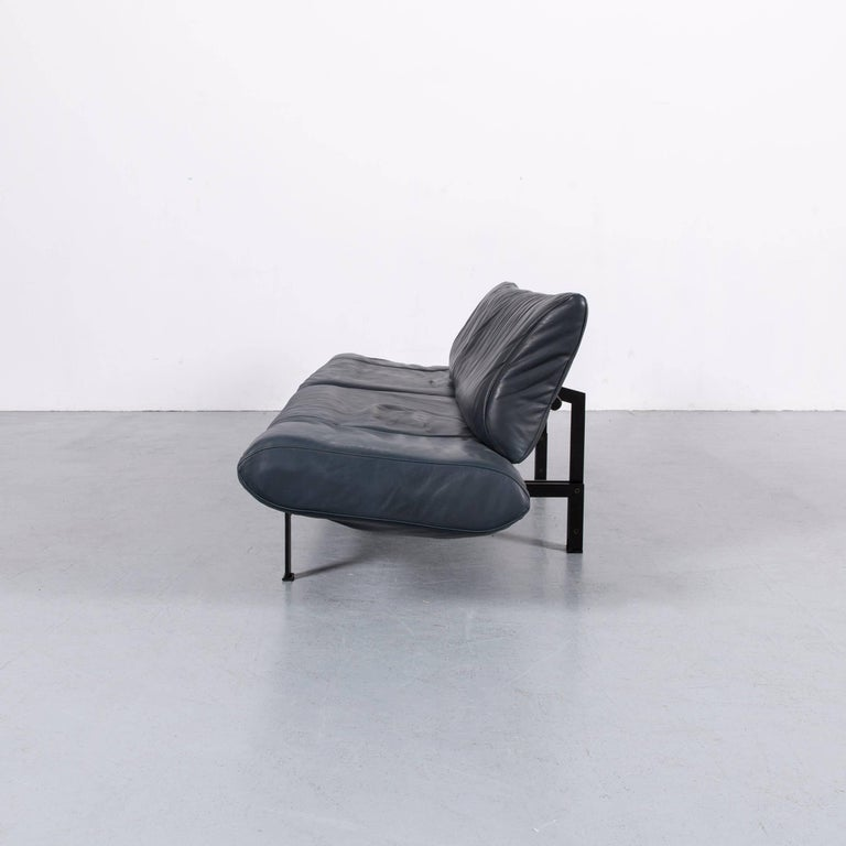 De Sede Ds 140 Designer Sofa Grey Blue Leather Three-Seat Couch For Sale 10