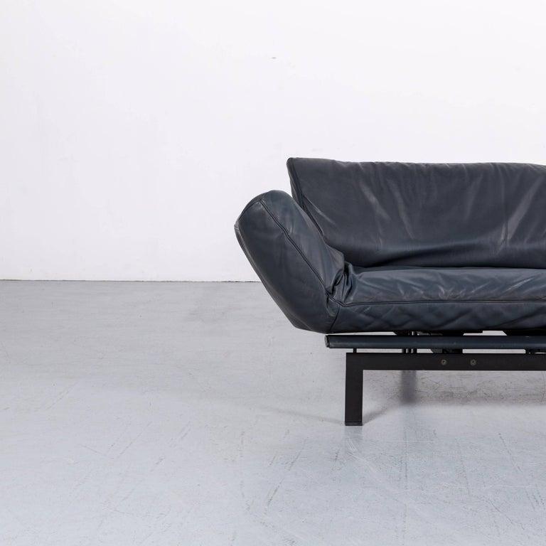 De Sede Ds 140 Designer Sofa Grey Blue Leather Three-Seat Couch In Fair Condition For Sale In Cologne, DE