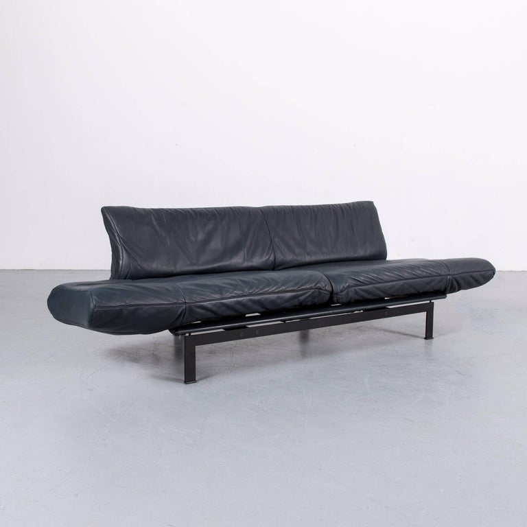 De Sede Ds 140 Designer Sofa Grey Blue Leather Three-Seat Couch For Sale 3