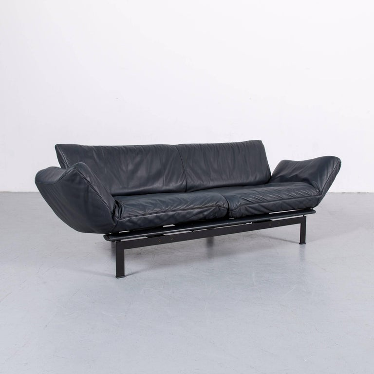 De Sede Ds 140 Designer Sofa Grey Blue Leather Three-Seat Couch For Sale 4