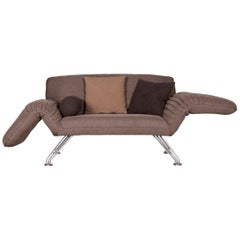 De Sede DS 142 Designer Fabric Sofa Brown Two-Seat Function Couch