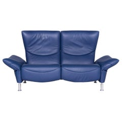 De Sede ds 145 Designer Leather Sofa Blue Two-Seat Function Couch