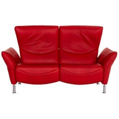 De Sede DS 145 Leather Sofa Red Two-Seat Function Couch