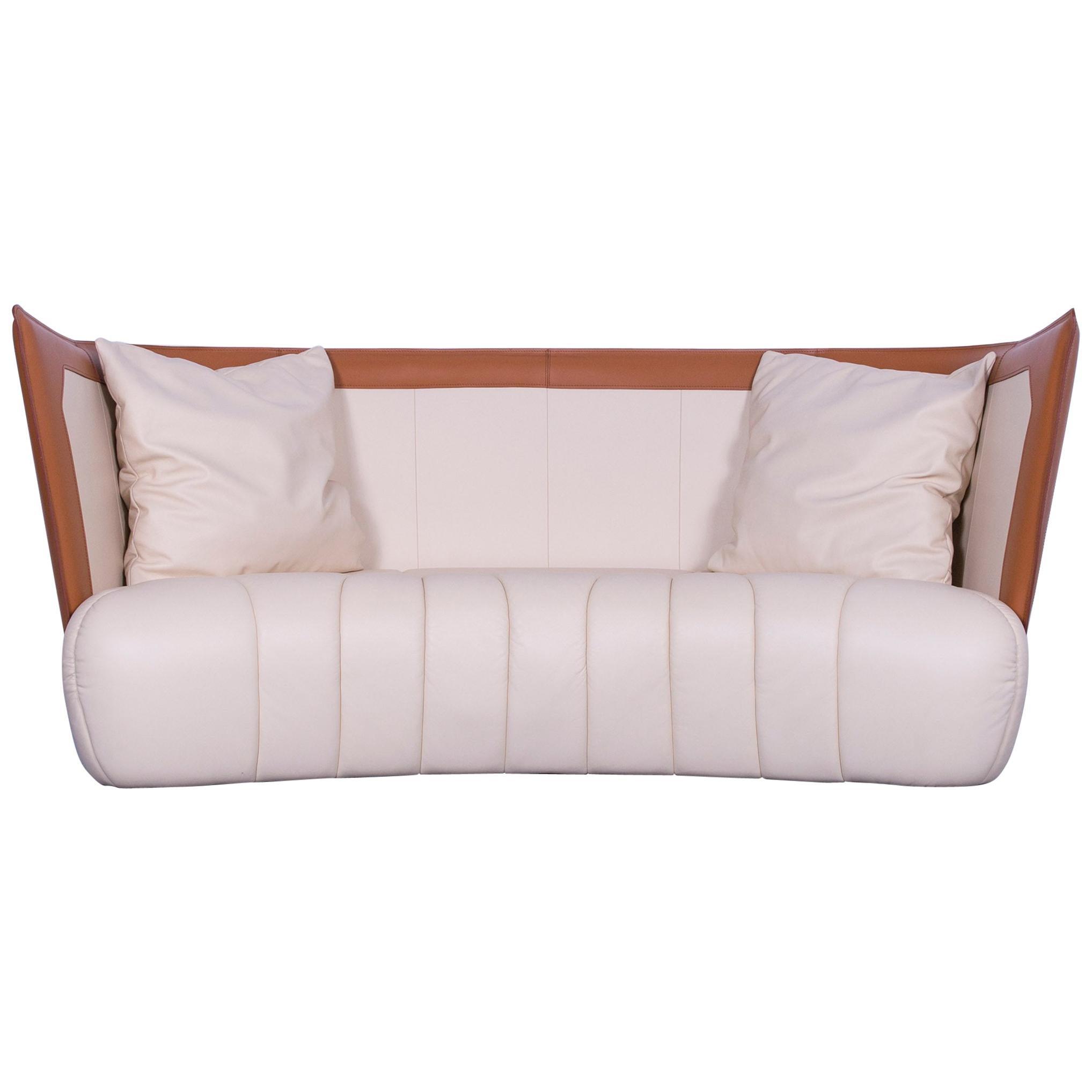 De Sede DS 146 Designer Leather Sofa Cream Beige Brown Three-Seat Couch Real