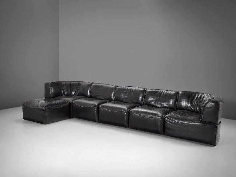 Mid-Century Modern De Sede 'Ds-15' Modular Sofa in Black Buffalo Leather For Sale