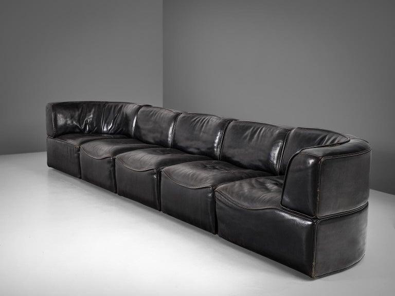 Swiss De Sede 'Ds-15' Modular Sofa in Black Buffalo Leather For Sale
