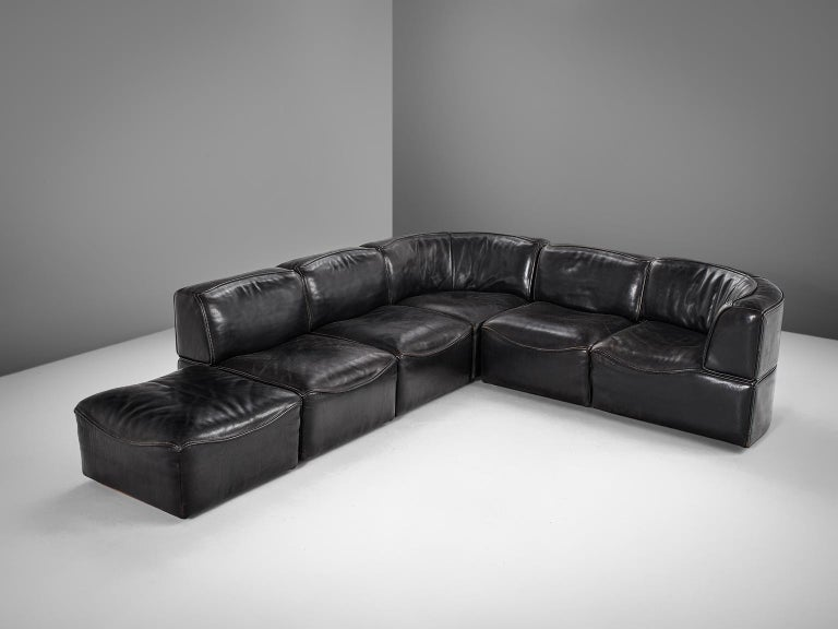 De Sede 'Ds-15' Modular Sofa in Black Buffalo Leather In Good Condition For Sale In Waalwijk, NL