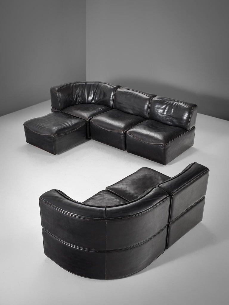 Late 20th Century De Sede 'Ds-15' Modular Sofa in Black Buffalo Leather For Sale