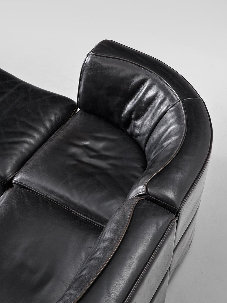 De Sede 'Ds-15' Modular Sofa in Black Buffalo Leather For Sale 1