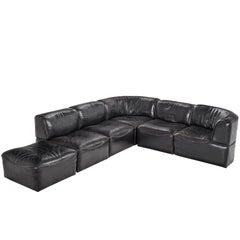 De Sede 'Ds-15' Modular Sofa in Black Buffalo Leather