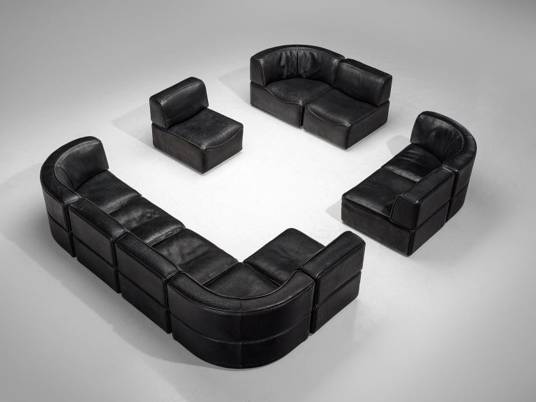 Post-Modern De Sede 'DS-15' Modular Sofa in Black Leather For Sale