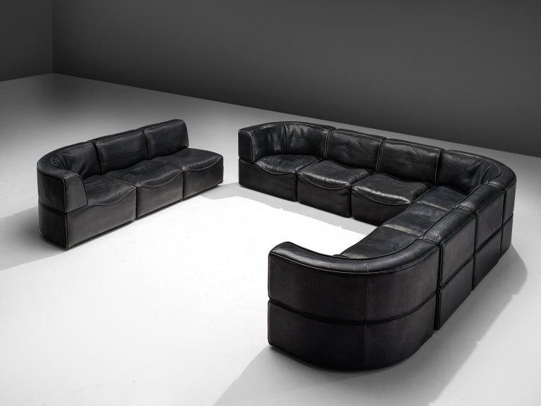 Swiss De Sede 'DS-15' Modular Sofa in Black Leather For Sale